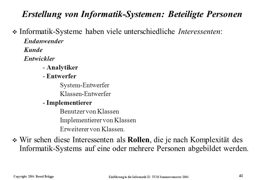 Copyright 2004 Bernd Brügge Einführung in die Informatik II: TUM Sommersemester 2004 41 Erstellung von Informatik-Systemen: Beteiligte Personen v Info
