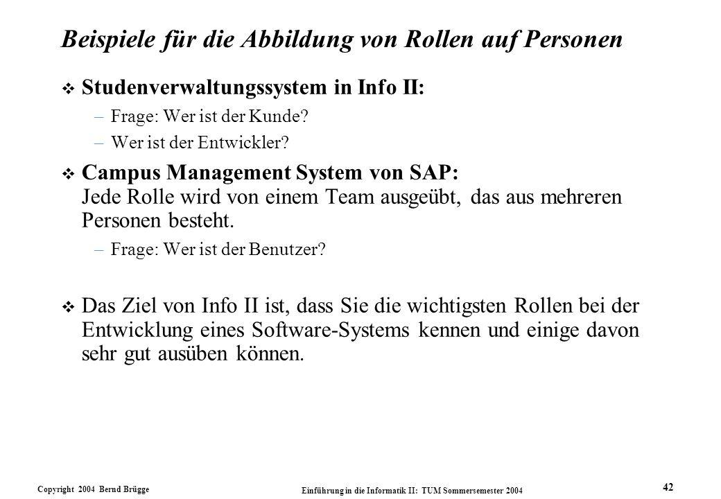 Copyright 2004 Bernd Brügge Einführung in die Informatik II: TUM Sommersemester 2004 42 Beispiele für die Abbildung von Rollen auf Personen v Studenve