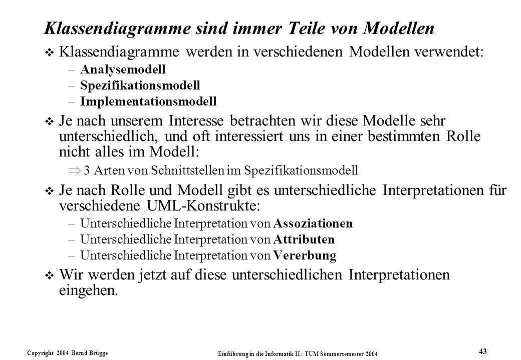 Copyright 2004 Bernd Brügge Einführung in die Informatik II: TUM Sommersemester 2004 43 Klassendiagramme sind immer Teile von Modellen v Klassendiagra