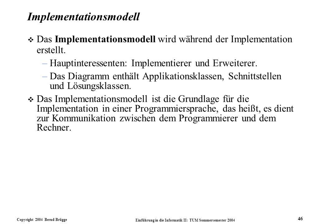 Copyright 2004 Bernd Brügge Einführung in die Informatik II: TUM Sommersemester 2004 46 Implementationsmodell v Das Implementationsmodell wird während