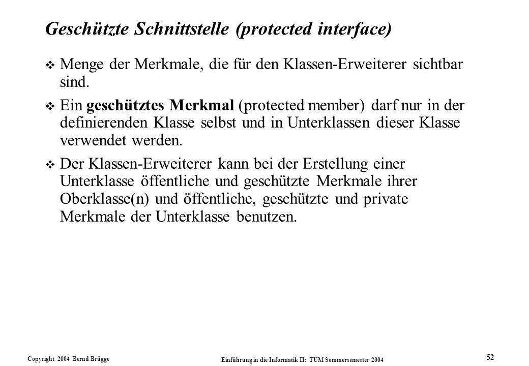 Copyright 2004 Bernd Brügge Einführung in die Informatik II: TUM Sommersemester 2004 52 Geschützte Schnittstelle (protected interface) v Menge der Mer