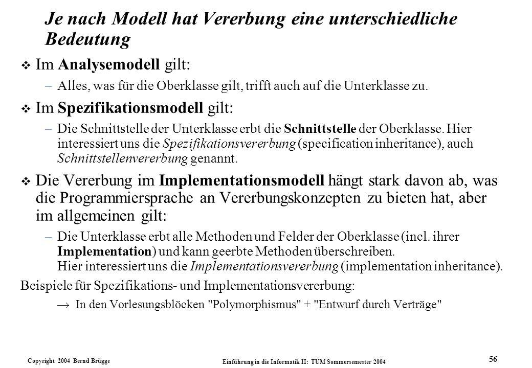 Copyright 2004 Bernd Brügge Einführung in die Informatik II: TUM Sommersemester 2004 56 Je nach Modell hat Vererbung eine unterschiedliche Bedeutung v