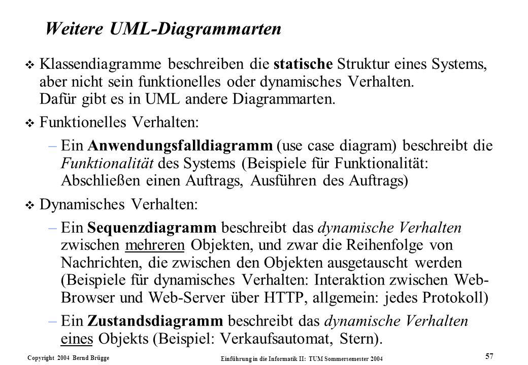 Copyright 2004 Bernd Brügge Einführung in die Informatik II: TUM Sommersemester 2004 57 Weitere UML-Diagrammarten v Klassendiagramme beschreiben die s