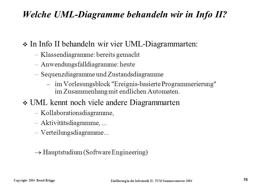 Copyright 2004 Bernd Brügge Einführung in die Informatik II: TUM Sommersemester 2004 58 Welche UML-Diagramme behandeln wir in Info II? v In Info II be