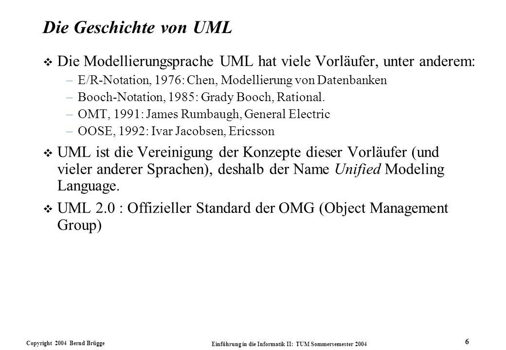 Copyright 2004 Bernd Brügge Einführung in die Informatik II: TUM Sommersemester 2004 6 Die Geschichte von UML v Die Modellierungsprache UML hat viele