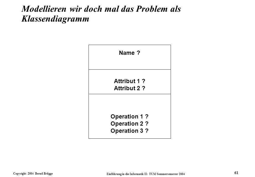 Copyright 2004 Bernd Brügge Einführung in die Informatik II: TUM Sommersemester 2004 61 Modellieren wir doch mal das Problem als Klassendiagramm Name