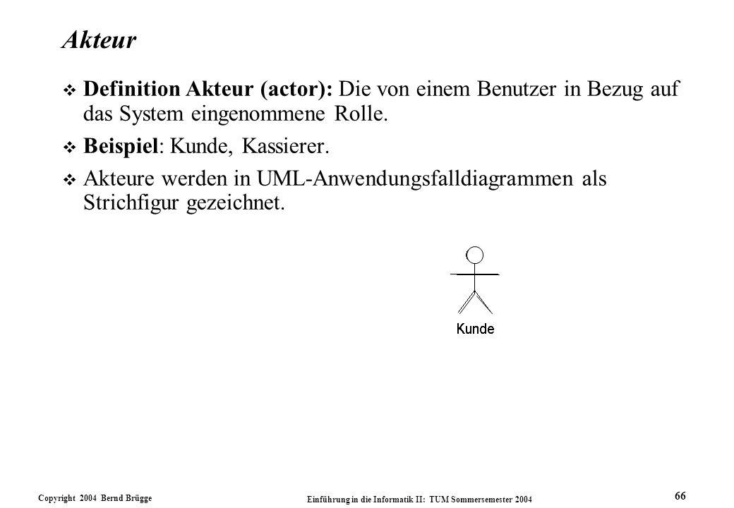 Copyright 2004 Bernd Brügge Einführung in die Informatik II: TUM Sommersemester 2004 66 Akteur v Definition Akteur (actor): Die von einem Benutzer in