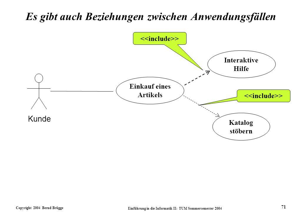 Copyright 2004 Bernd Brügge Einführung in die Informatik II: TUM Sommersemester 2004 71 Es gibt auch Beziehungen zwischen Anwendungsfällen > Katalog s