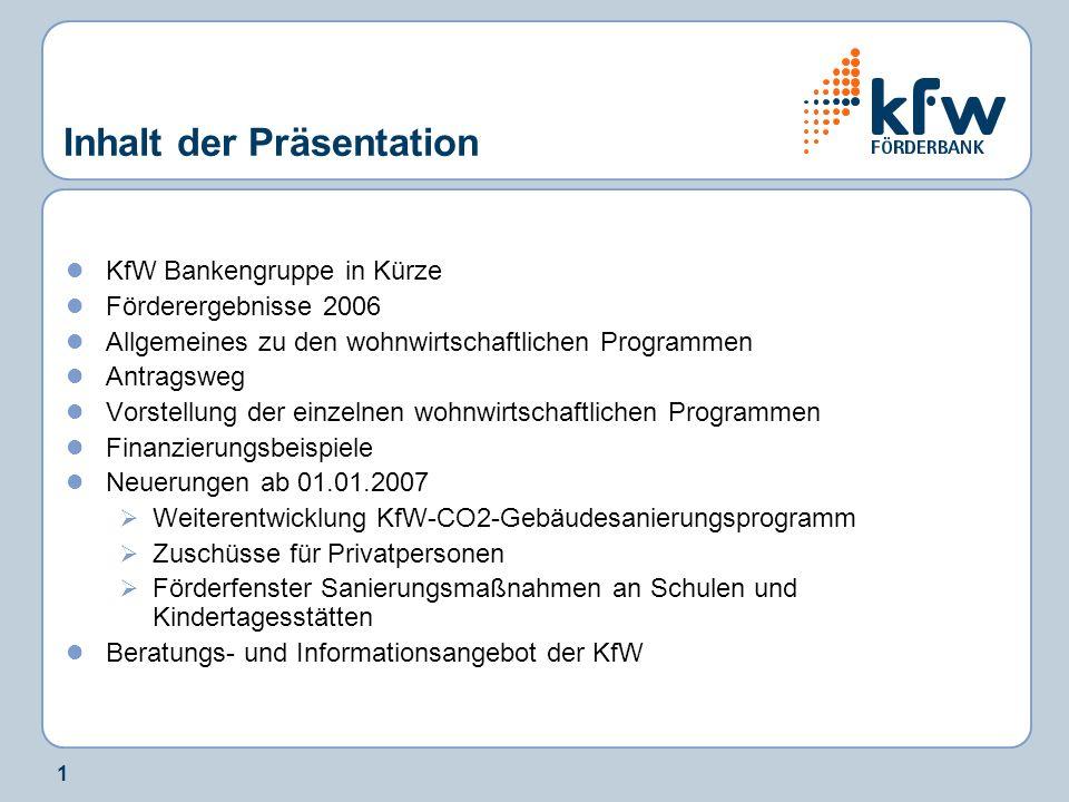 1 Inhalt der Präsentation KfW Bankengruppe in Kürze Förderergebnisse 2006 Allgemeines zu den wohnwirtschaftlichen Programmen Antragsweg Vorstellung de