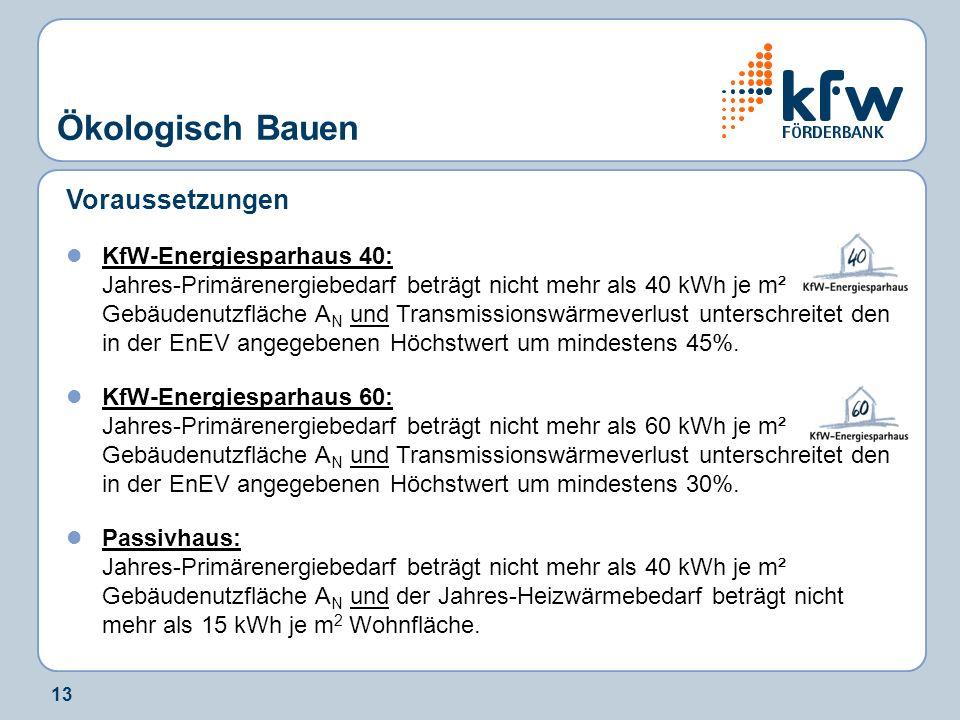 13 Voraussetzungen KfW-Energiesparhaus 40: Jahres-Primärenergiebedarf beträgt nicht mehr als 40 kWh je m² Gebäudenutzfläche A N und Transmissionswärme