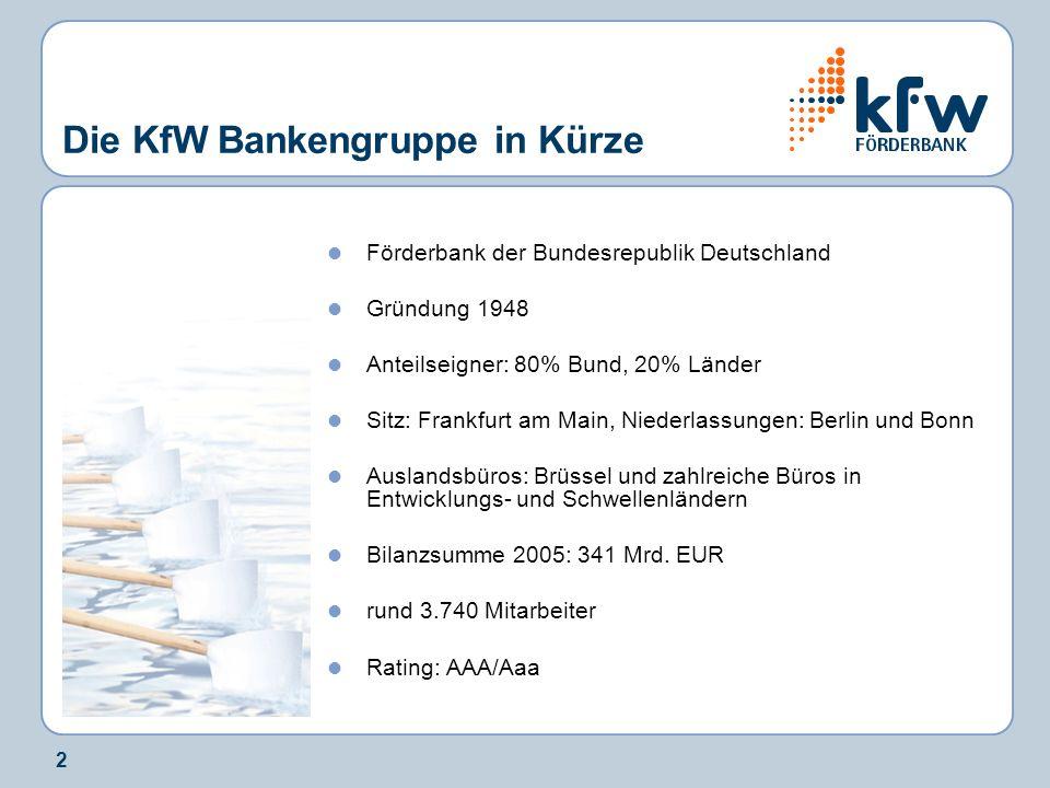 2 Die KfW Bankengruppe in Kürze Förderbank der Bundesrepublik Deutschland Gründung 1948 Anteilseigner: 80% Bund, 20% Länder Sitz: Frankfurt am Main, N