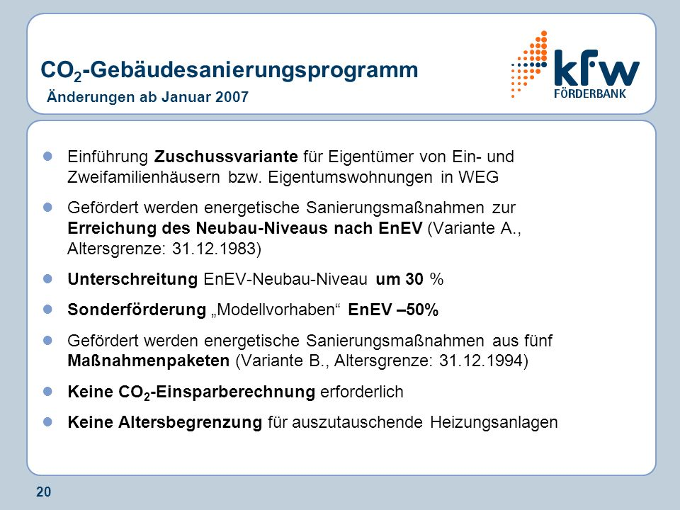 20 Einführung Zuschussvariante für Eigentümer von Ein- und Zweifamilienhäusern bzw. Eigentumswohnungen in WEG Gefördert werden energetische Sanierungs