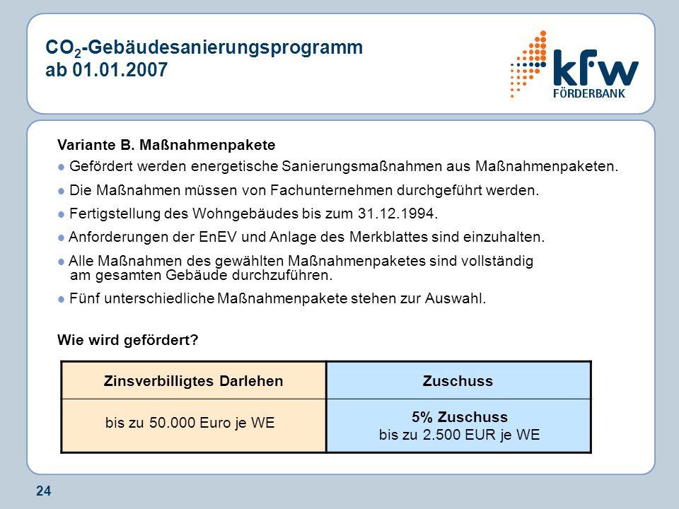 24 CO 2 -Gebäudesanierungsprogramm ab 01.01.2007 Variante B. Maßnahmenpakete Gefördert werden energetische Sanierungsmaßnahmen aus Maßnahmenpaketen. D
