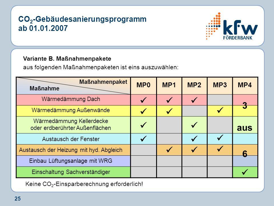 25 CO 2 -Gebäudesanierungsprogramm ab 01.01.2007 Variante B. Maßnahmenpakete aus folgenden Maßnahmenpaketen ist eins auszuwählen: Keine CO 2 -Einsparb