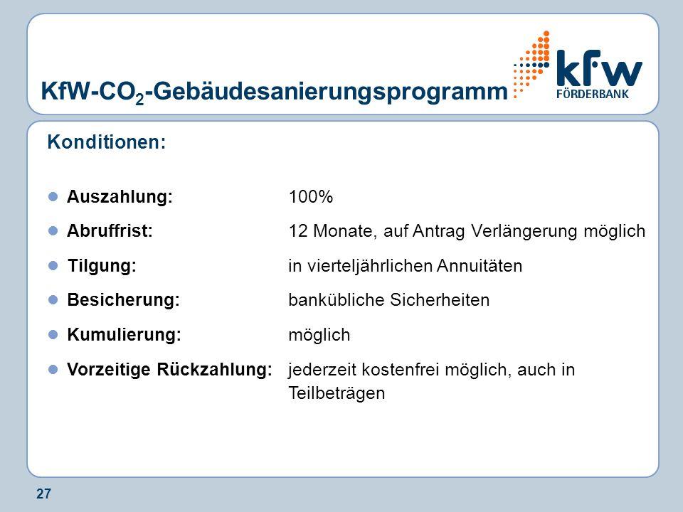 27 KfW-CO 2 -Gebäudesanierungsprogramm Konditionen: Auszahlung:100% Abruffrist:12 Monate, auf Antrag Verlängerung möglich Tilgung:in vierteljährlichen