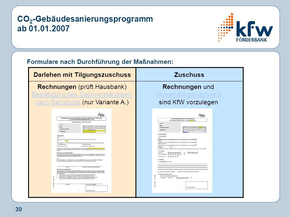 30 Formulare nach Durchführung der Maßnahmen: CO 2 -Gebäudesanierungsprogramm ab 01.01.2007 Darlehen mit TilgungszuschussZuschuss Rechnungen (prüft Ha