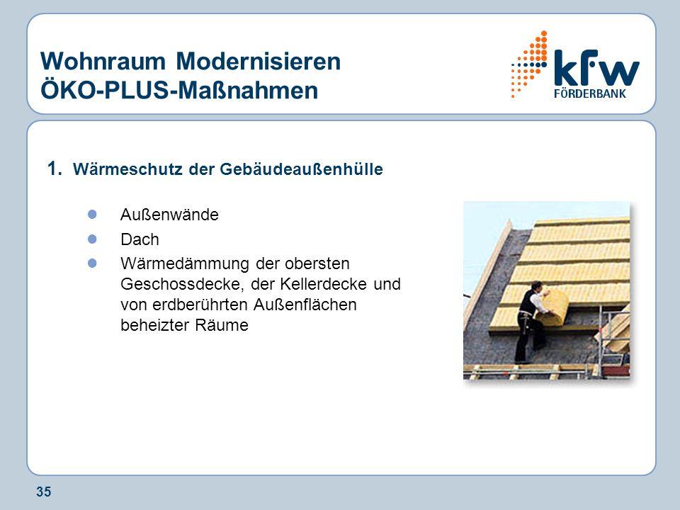 35 Wohnraum Modernisieren ÖKO-PLUS-Maßnahmen 1. Wärmeschutz der Gebäudeaußenhülle Außenwände Dach Wärmedämmung der obersten Geschossdecke, der Kellerd