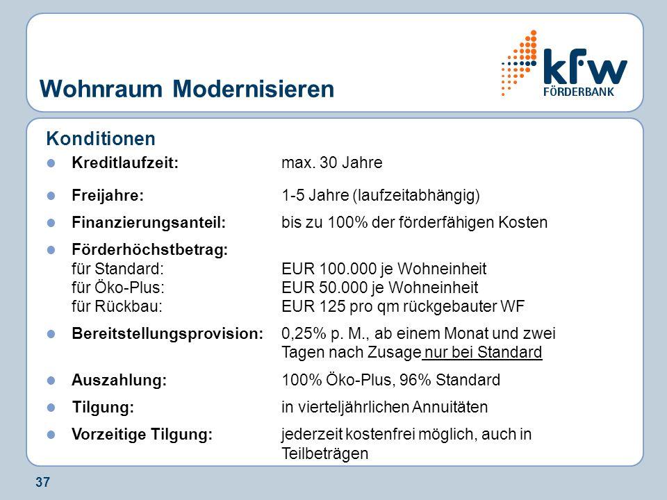 37 Wohnraum Modernisieren Konditionen Kreditlaufzeit: max. 30 Jahre Freijahre:1-5 Jahre (laufzeitabhängig) Finanzierungsanteil: bis zu 100% der förder
