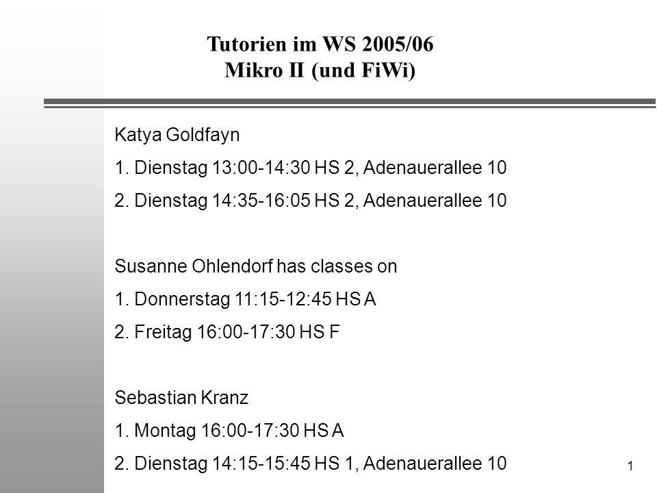 1 Tutorien im WS 2005/06 Mikro II (und FiWi) Katya Goldfayn 1.