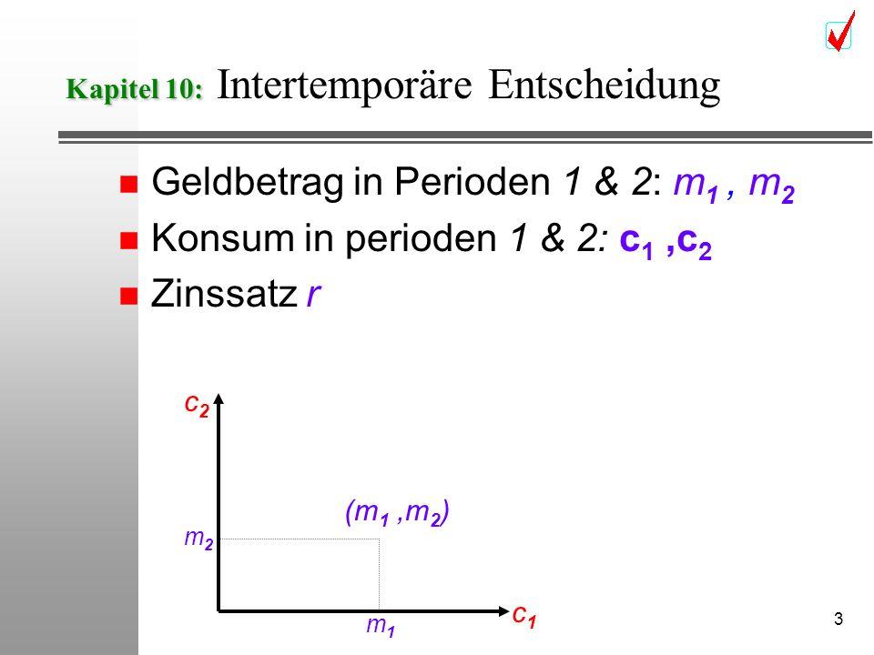 3 Kapitel 10: Kapitel 10: Intertemporäre Entscheidung n Geldbetrag in Perioden 1 & 2: m 1, m 2 n Konsum in perioden 1 & 2: c 1,c 2 n Zinssatz r (m 1,m 2 ) c1c1 c2c2 m1m1 m2m2