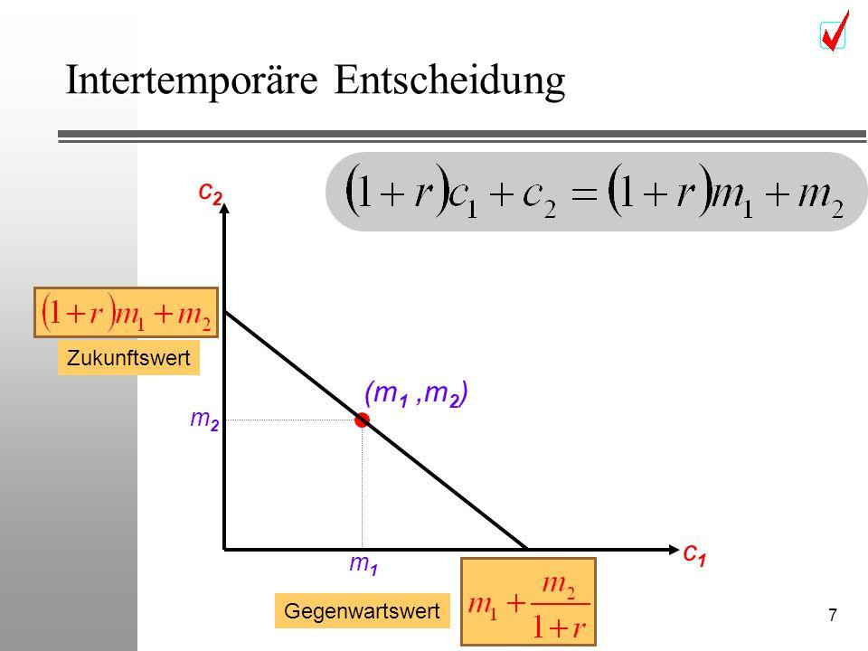 7 Intertemporäre Entscheidung (m 1,m 2 ) c2c2 c1c1 m2m2 m1m1 Zukunftswert Gegenwartswert