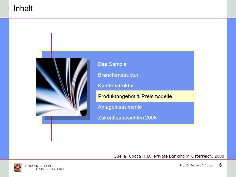 16 Inhalt Das Sample Branchenstruktur Kundenstruktur Produktangebot & Preismodelle Anlageinstrumente Zukunftsaussichten 2008 Prof. Dr. Teodoro D. Cocc