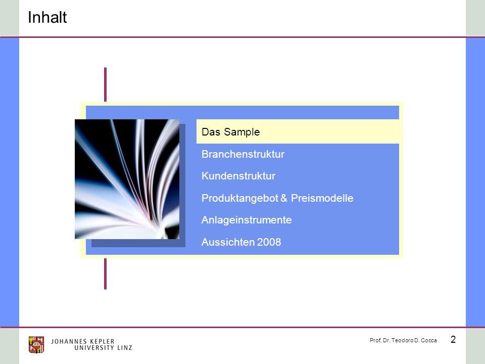 2 Inhalt Prof. Dr. Teodoro D. Cocca Das Sample Branchenstruktur Kundenstruktur Produktangebot & Preismodelle Anlageinstrumente Aussichten 2008