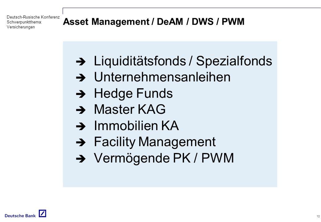 Deutsch-Rusische Konferenz Schwerpunktthema: Versicherungen 10 Asset Management / DeAM / DWS / PWM Liquiditätsfonds / Spezialfonds Unternehmensanleihen Hedge Funds Master KAG Immobilien KA Facility Management Vermögende PK / PWM
