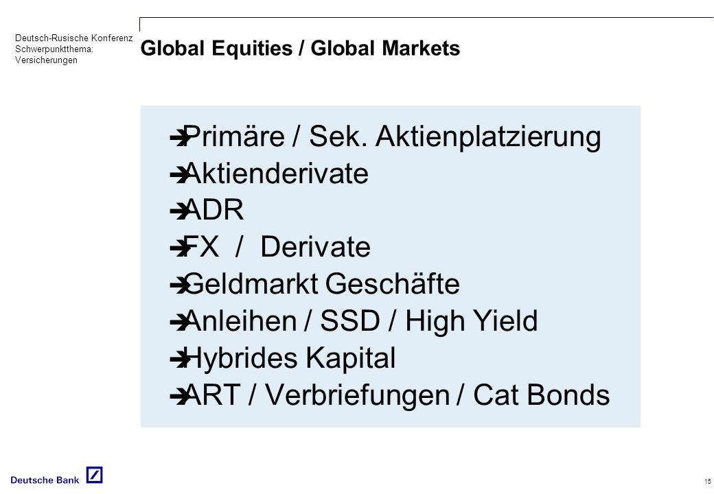Deutsch-Rusische Konferenz Schwerpunktthema: Versicherungen 15 Global Equities / Global Markets Primäre / Sek. Aktienplatzierung Aktienderivate ADR FX