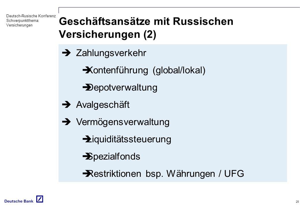 Deutsch-Rusische Konferenz Schwerpunktthema: Versicherungen 25 Geschäftsansätze mit Russischen Versicherungen (2) Zahlungsverkehr Kontenführung (globa