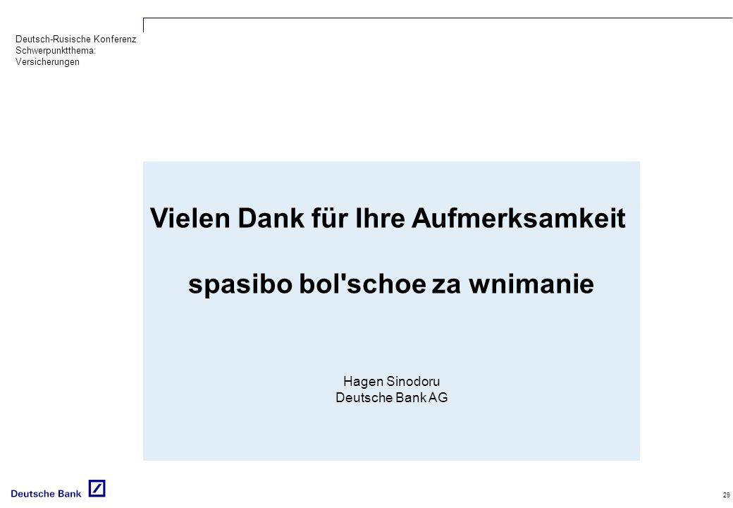 Deutsch-Rusische Konferenz Schwerpunktthema: Versicherungen 29 Vielen Dank für Ihre Aufmerksamkeit spasibo bol schoe za wnimanie Hagen Sinodoru Deutsche Bank AG