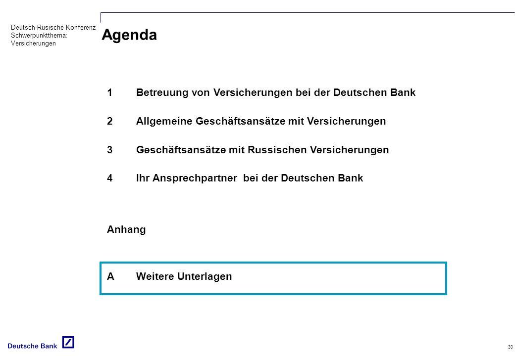 Deutsch-Rusische Konferenz Schwerpunktthema: Versicherungen 30 Agenda 1Betreuung von Versicherungen bei der Deutschen Bank 2Allgemeine Geschäftsansätze mit Versicherungen 3Geschäftsansätze mit Russischen Versicherungen 4Ihr Ansprechpartner bei der Deutschen Bank Anhang AWeitere Unterlagen