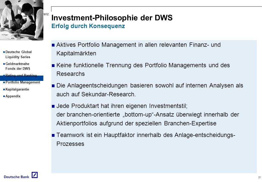 Deutsch-Rusische Konferenz Schwerpunktthema: Versicherungen 31 Deutsche Global Liquidity Series Geldmarktnahe Fonds der DWS Rating und Ranking Portfol