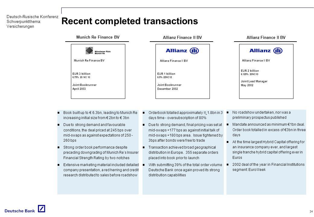 Deutsch-Rusische Konferenz Schwerpunktthema: Versicherungen 34 Recent completed transactions Book built up to 6.3bn, leading to Munich Re increasing i