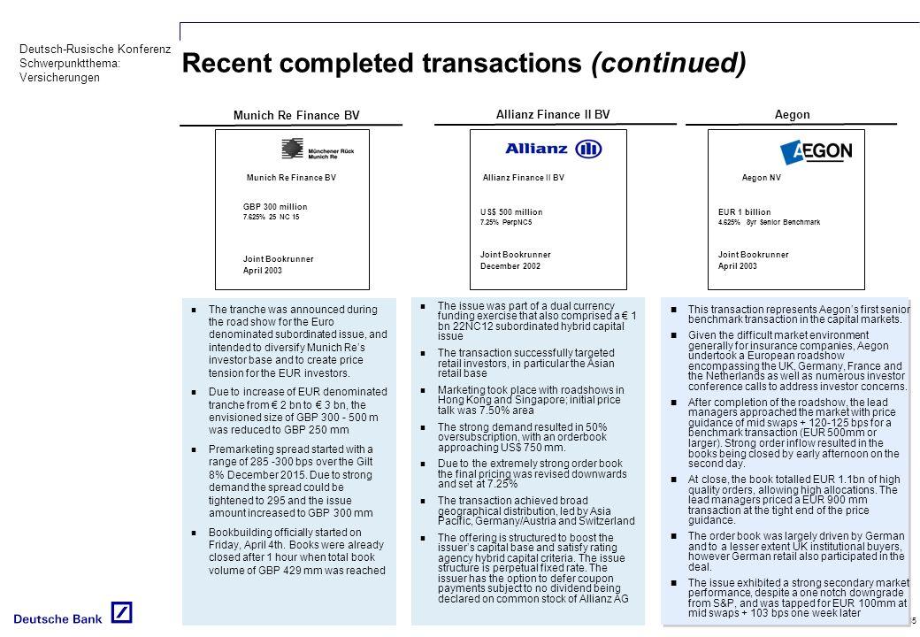 Deutsch-Rusische Konferenz Schwerpunktthema: Versicherungen 35 Recent completed transactions (continued) Munich Re Finance BV Allianz Finance II BV Th