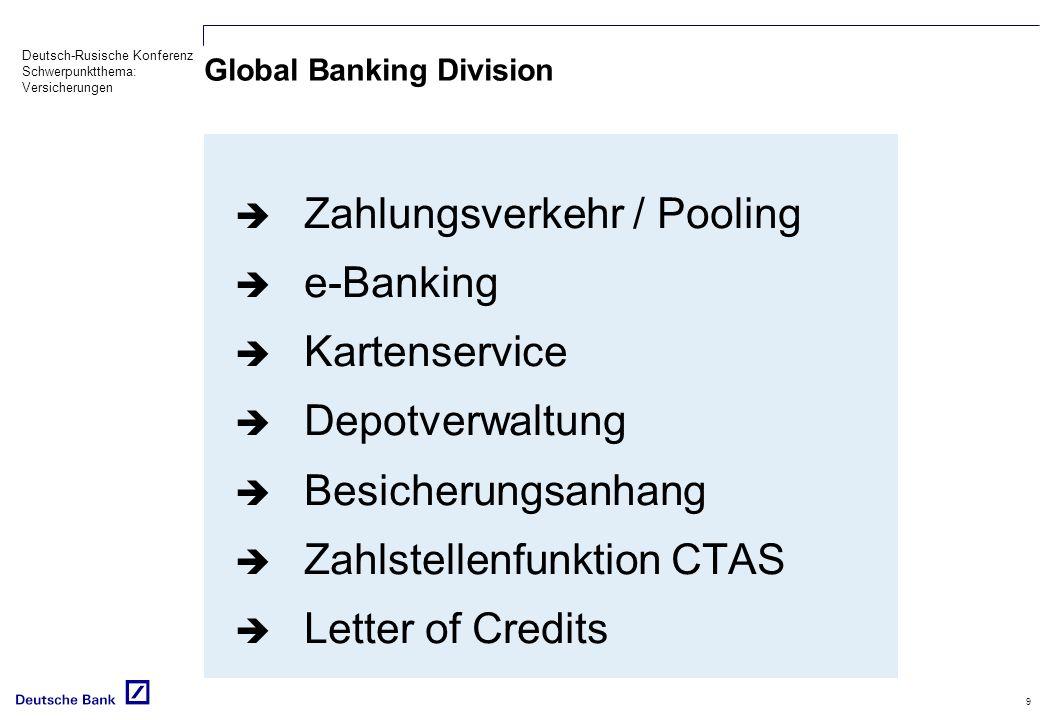 Deutsch-Rusische Konferenz Schwerpunktthema: Versicherungen 9 Global Banking Division Zahlungsverkehr / Pooling e-Banking Kartenservice Depotverwaltung Besicherungsanhang Zahlstellenfunktion CTAS Letter of Credits