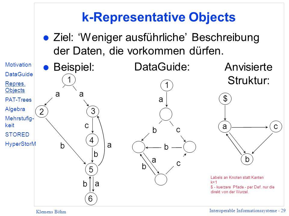 Interoperable Informationssysteme - 29 Klemens Böhm k-Representative Objects l Ziel: Weniger ausführliche Beschreibung der Daten, die vorkommen dürfen