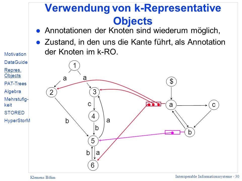 Interoperable Informationssysteme - 30 Klemens Böhm Verwendung von k-Representative Objects l Annotationen der Knoten sind wiederum möglich, l Zustand