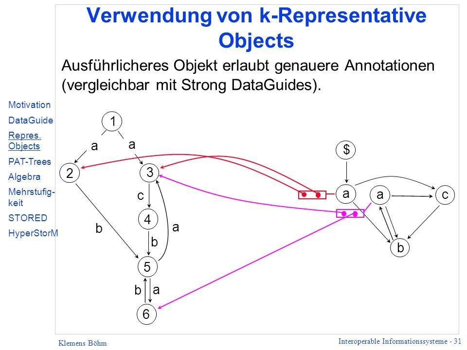 Interoperable Informationssysteme - 31 Klemens Böhm Verwendung von k-Representative Objects Ausführlicheres Objekt erlaubt genauere Annotationen (verg