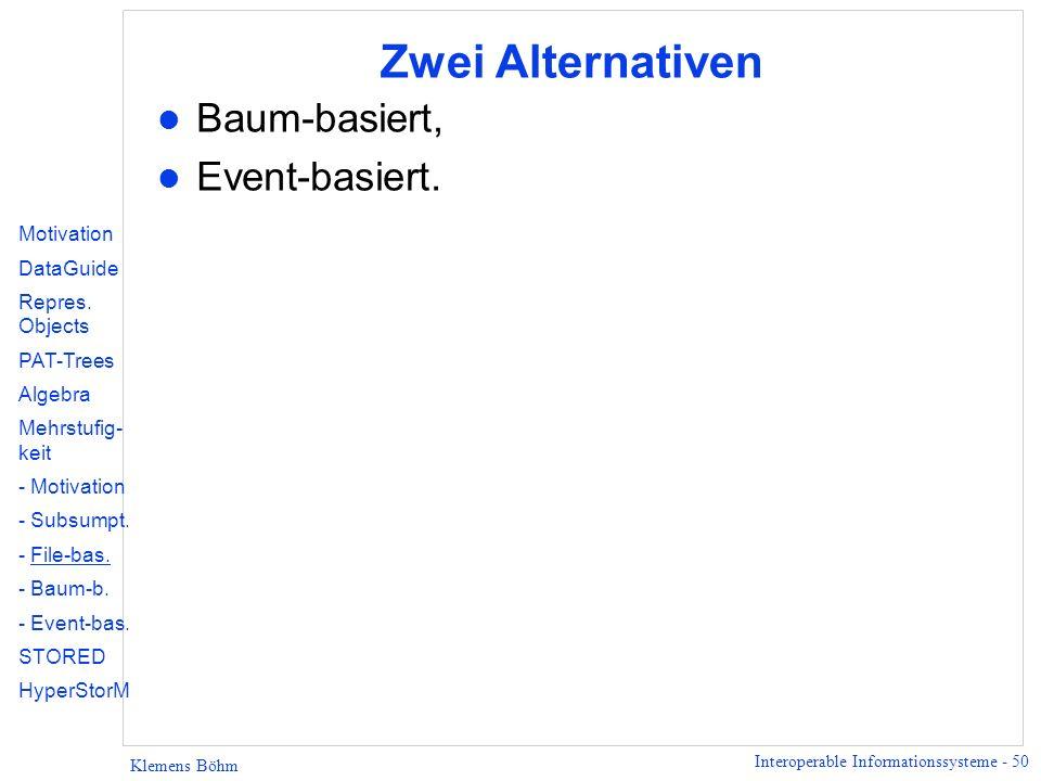 Interoperable Informationssysteme - 50 Klemens Böhm Zwei Alternativen l Baum-basiert, l Event-basiert. Motivation DataGuide Repres. Objects PAT-Trees
