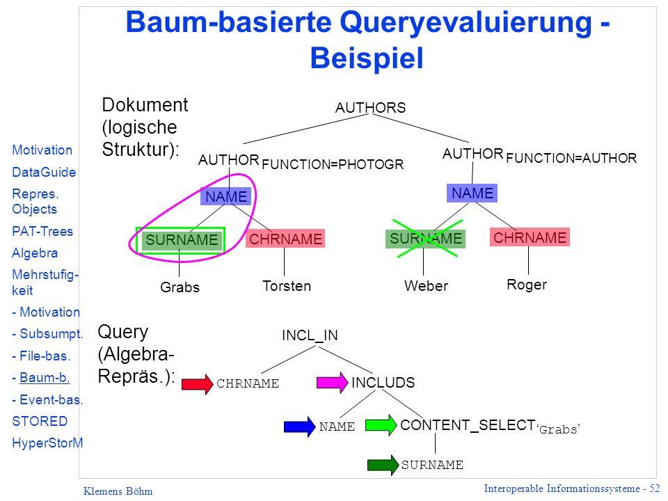 Interoperable Informationssysteme - 52 Klemens Böhm Baum-basierte Queryevaluierung - Beispiel AUTHORS SURNAME CHRNAME Grabs Torsten AUTHOR FUNCTION=PH