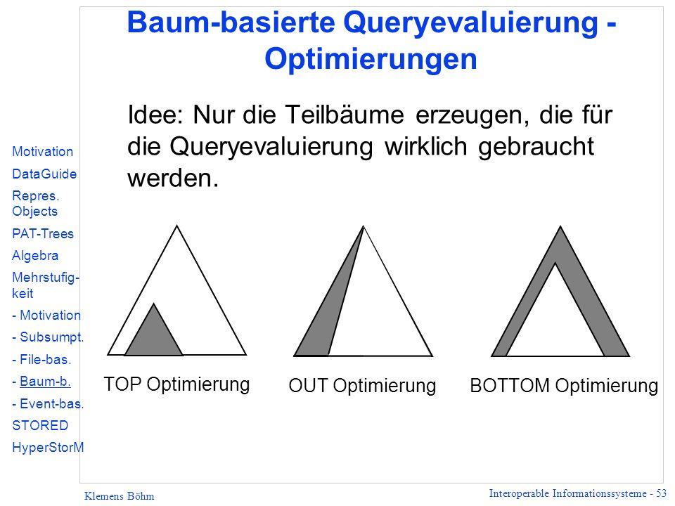 Interoperable Informationssysteme - 53 Klemens Böhm Baum-basierte Queryevaluierung - Optimierungen Idee: Nur die Teilbäume erzeugen, die für die Query