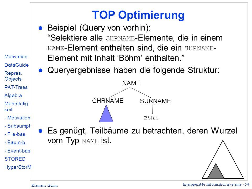 Interoperable Informationssysteme - 54 Klemens Böhm TOP Optimierung Beispiel (Query von vorhin): Selektiere alle CHRNAME -Elemente, die in einem NAME