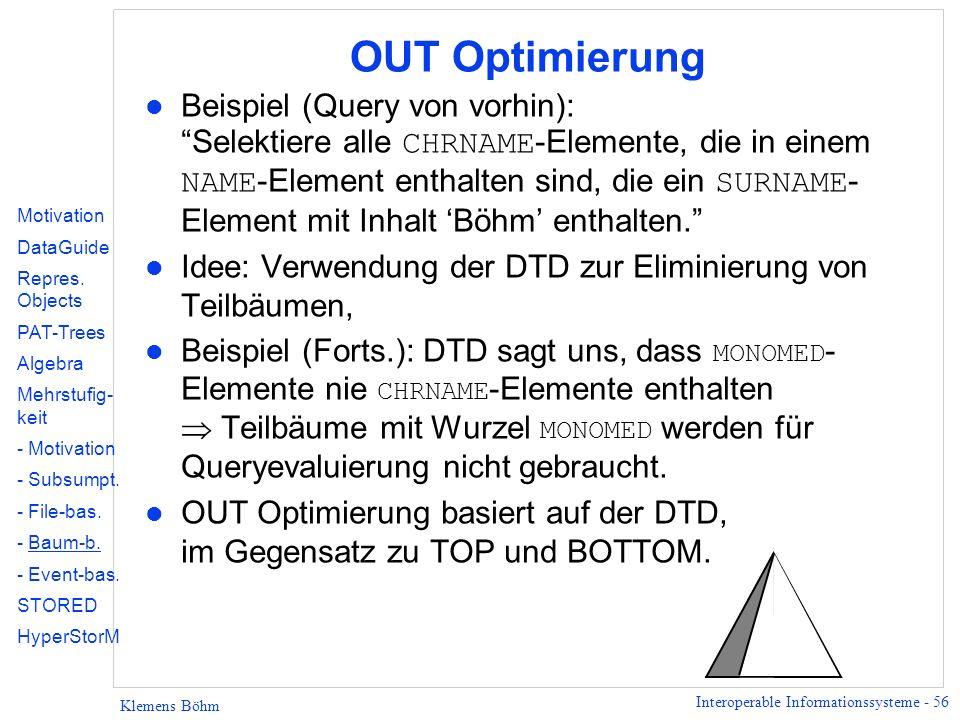 Interoperable Informationssysteme - 56 Klemens Böhm OUT Optimierung Beispiel (Query von vorhin): Selektiere alle CHRNAME -Elemente, die in einem NAME