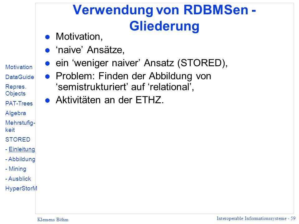 Interoperable Informationssysteme - 59 Klemens Böhm Verwendung von RDBMSen - Gliederung l Motivation, l naive Ansätze, l ein weniger naiver Ansatz (ST