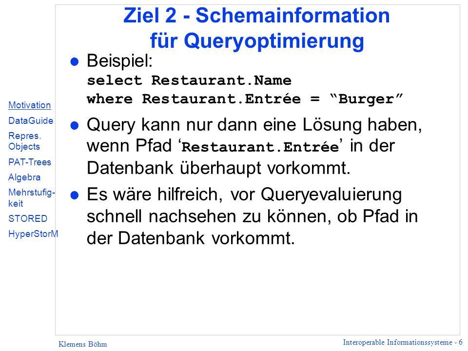 Interoperable Informationssysteme - 37 Klemens Böhm Aufbau des PAT-Trees 2 1 2 3 3 7 5 4 8 5 1 4 2 6 3 01100100010111…Text 123456789… Position 5 9 4 Motivation DataGuide Repres.