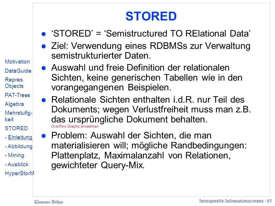Interoperable Informationssysteme - 63 Klemens Böhm STORED l STORED = Semistructured TO RElational Data l Ziel: Verwendung eines RDBMSs zur Verwaltung