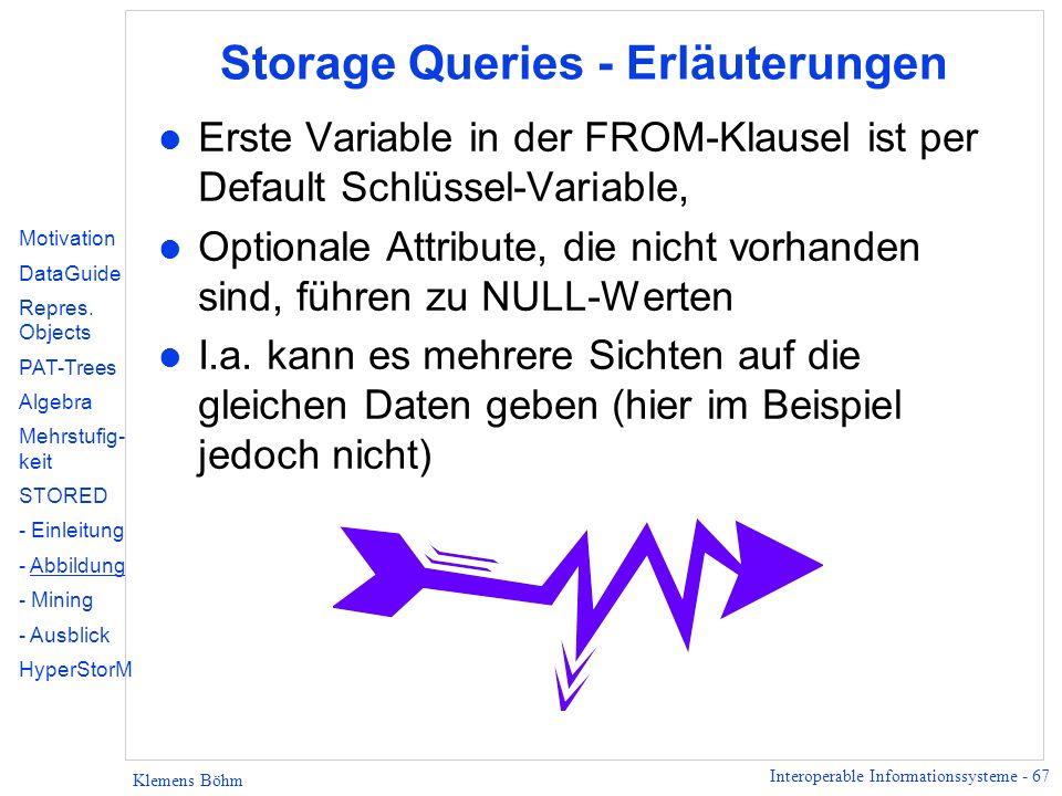 Interoperable Informationssysteme - 67 Klemens Böhm Storage Queries - Erläuterungen l Erste Variable in der FROM-Klausel ist per Default Schlüssel-Var