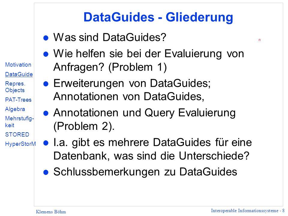 Interoperable Informationssysteme - 19 Klemens Böhm DataGuides - weiteres Beispiel A B 2 1 4 B A 3 B 5 C 6 C 7 C 8 D 9 D 10 D 12 11 13 B A 14 C 15 C 16 D 17 D 18 19 20 C 21 D Datenbank Zwei entsprechende DataGuides Hier nur sagen, dass es mehrere DataGuides geben kann.
