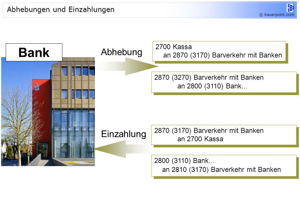 © bauerpoint.com Abhebung Einzahlung 2700 Kassa an 2870 (3170) Barverkehr mit Banken 2700 Kassa an 2870 (3170) Barverkehr mit Banken 2870 (3270) Barve